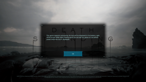 Autosave screenshot of Death Stranding video game interface.