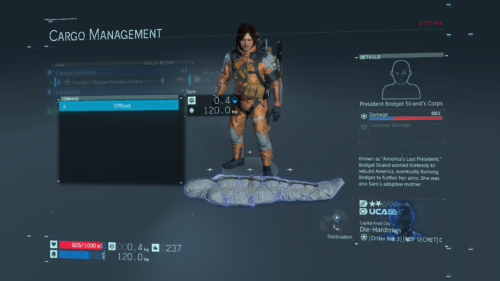 Cargo Management screenshot of Death Stranding video game interface.