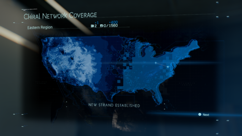 Chiral Network Coverage screenshot of Death Stranding video game interface.