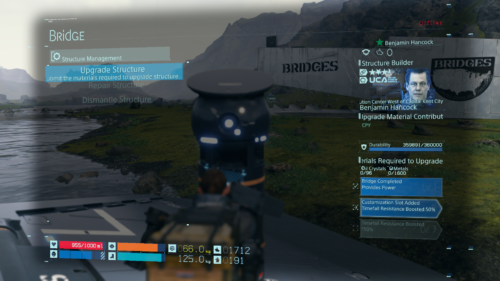 Construction screenshot of Death Stranding video game interface.