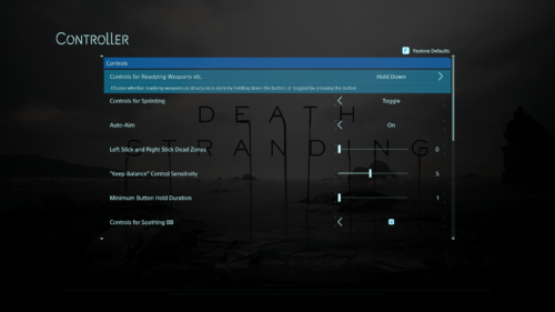 Controller screenshot of Death Stranding video game interface.