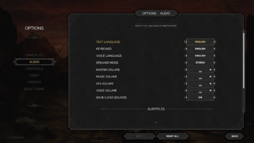 Audio screenshot of Desperados III video game interface.