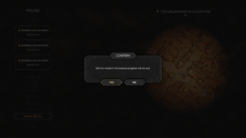 Confirmation screenshot of Desperados III video game interface.