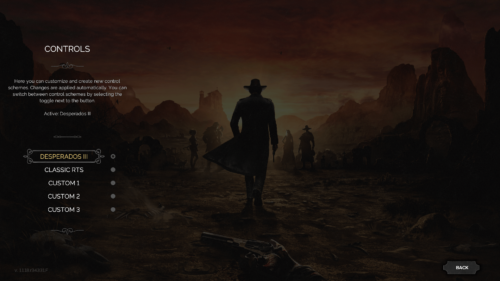 Controls screenshot of Desperados III video game interface.