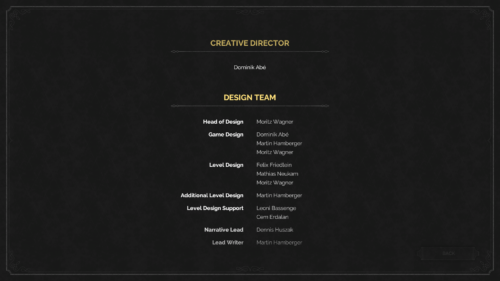 Credits screenshot of Desperados III video game interface.