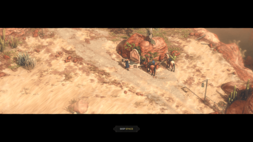 Cut Scene screenshot of Desperados III video game interface.