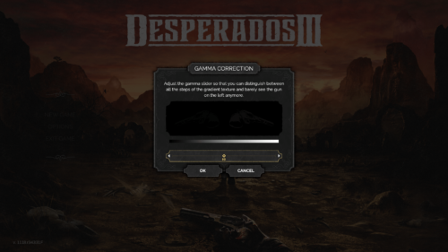 Gamma screenshot of Desperados III video game interface.