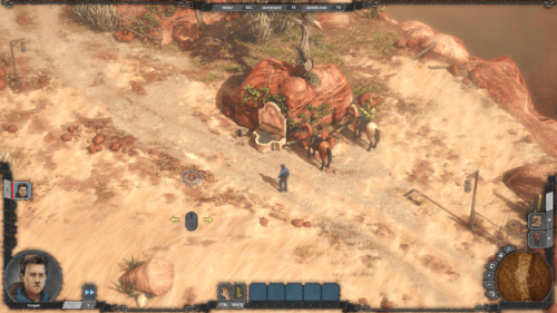 HUD screenshot of Desperados III video game interface.