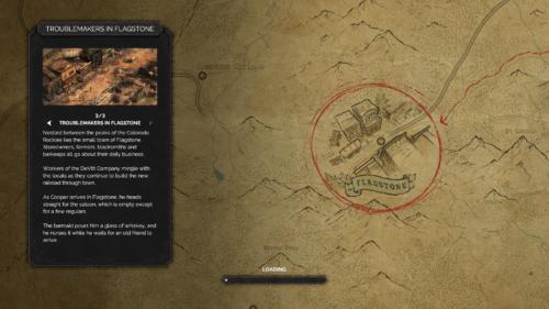 Loading screenshot of Desperados III video game interface.