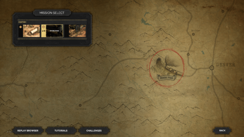 Mission Select screenshot of Desperados III video game interface.