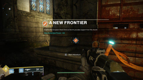 A new frontier screenshot of Destiny 2 video game interface.