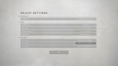 Adjust settings screenshot of Destiny 2 video game interface.