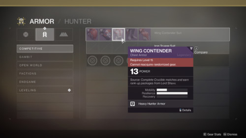 Armor set screenshot of Destiny 2 video game interface.