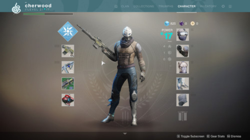 Character screenshot of Destiny 2 video game interface.