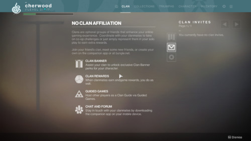 Clan affiliation screenshot of Destiny 2 video game interface.
