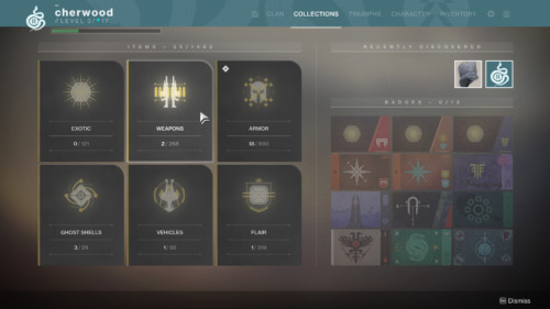 Collections screenshot of Destiny 2 video game interface.