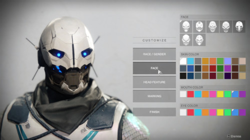 Customize face screenshot of Destiny 2 video game interface.