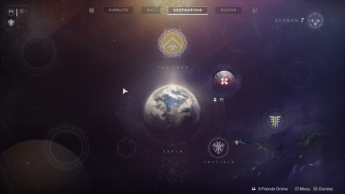 Destinations screenshot of Destiny 2 video game interface.