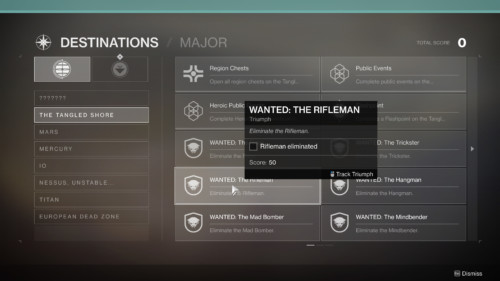 Destinations quests screenshot of Destiny 2 video game interface.