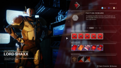 Faction reward screenshot of Destiny 2 video game interface.