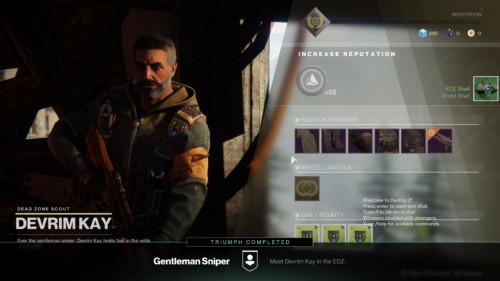Increase reputation screenshot of Destiny 2 video game interface.