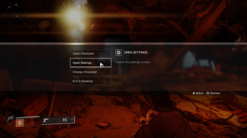 Menu in game screenshot of Destiny 2 video game interface.