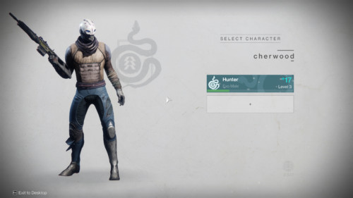 Select character screenshot of Destiny 2 video game interface.