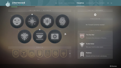 Triumphs screenshot of Destiny 2 video game interface.