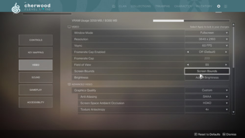 Video screenshot of Destiny 2 video game interface.