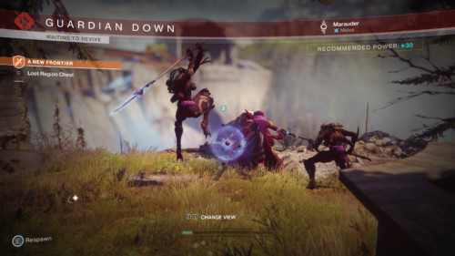 Waiting to revive screenshot of Destiny 2 video game interface.