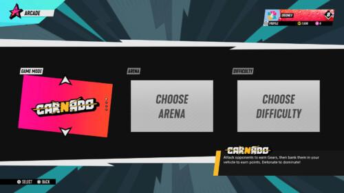Arcade Mode Selection Screen screenshot of Destruction AllStars video game interface.