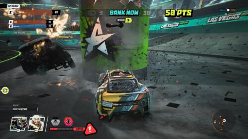 Canado Bank Now Prompt  screenshot of Destruction AllStars video game interface.