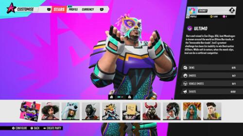 Character Customisation  screenshot of Destruction AllStars video game interface.