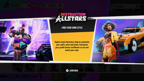 Customisation Tutorial  screenshot of Destruction AllStars video game interface.