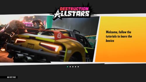 First Tutorial  screenshot of Destruction AllStars video game interface.