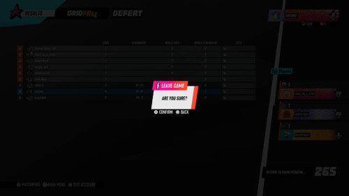 Leave Game  screenshot of Destruction AllStars video game interface.
