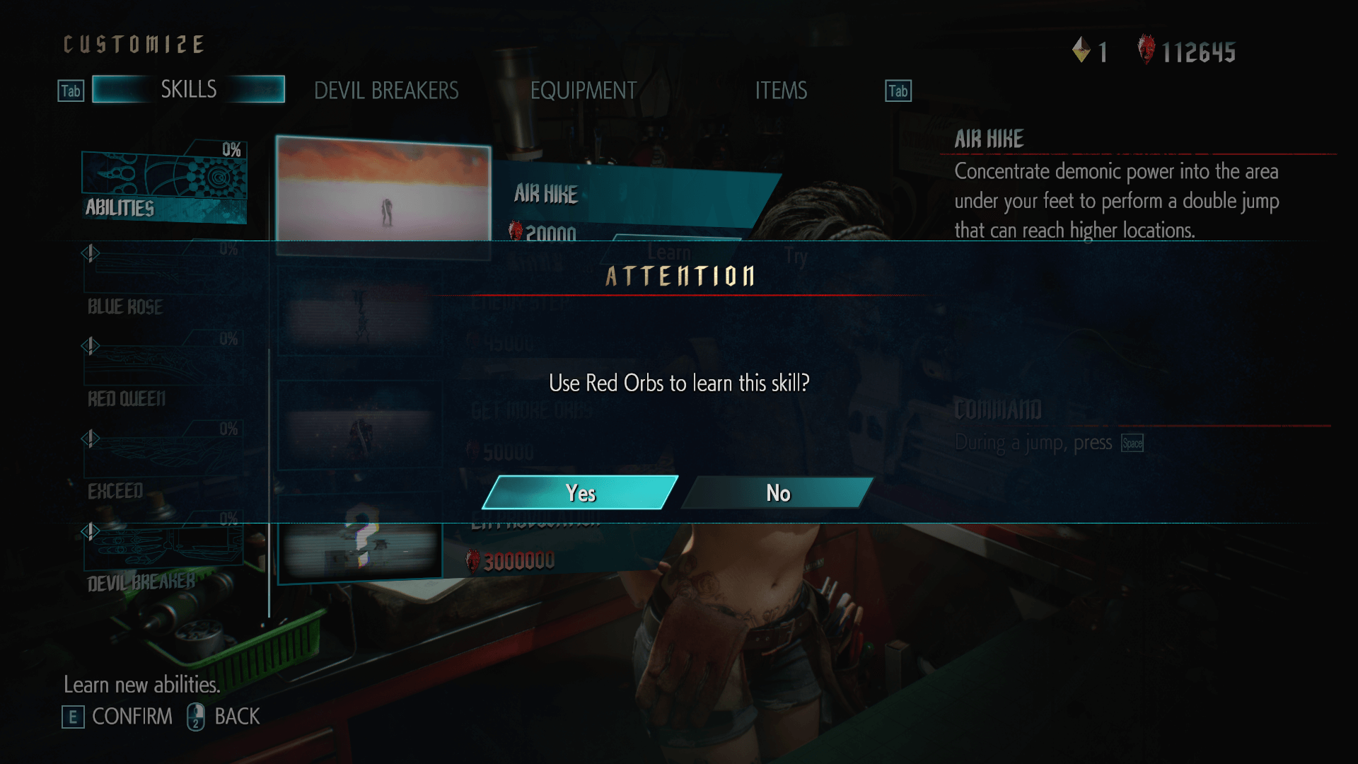 Attention screenshot of Devil May Cry 5 video game interface.