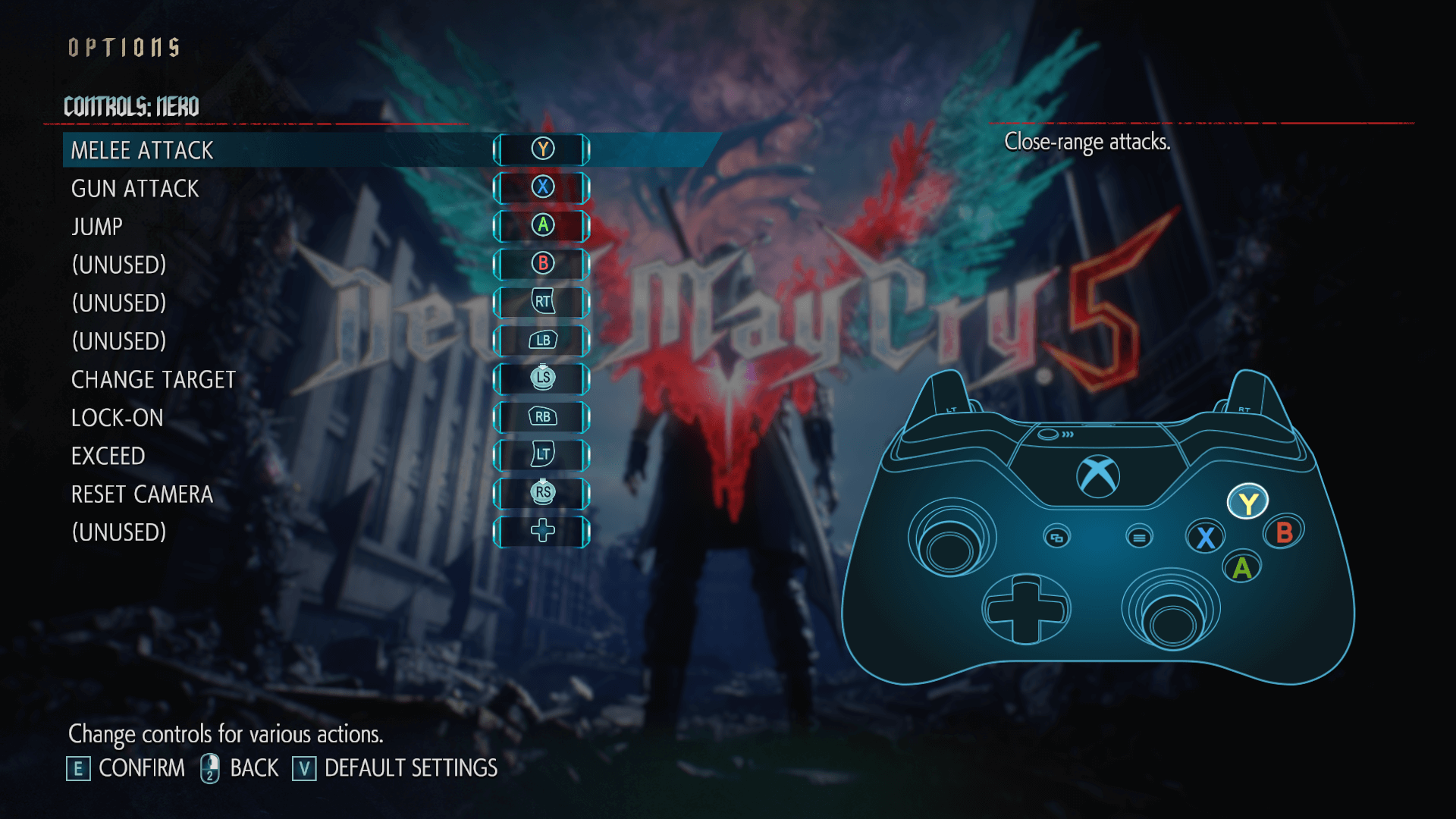 Controls screenshot of Devil May Cry 5 video game interface.