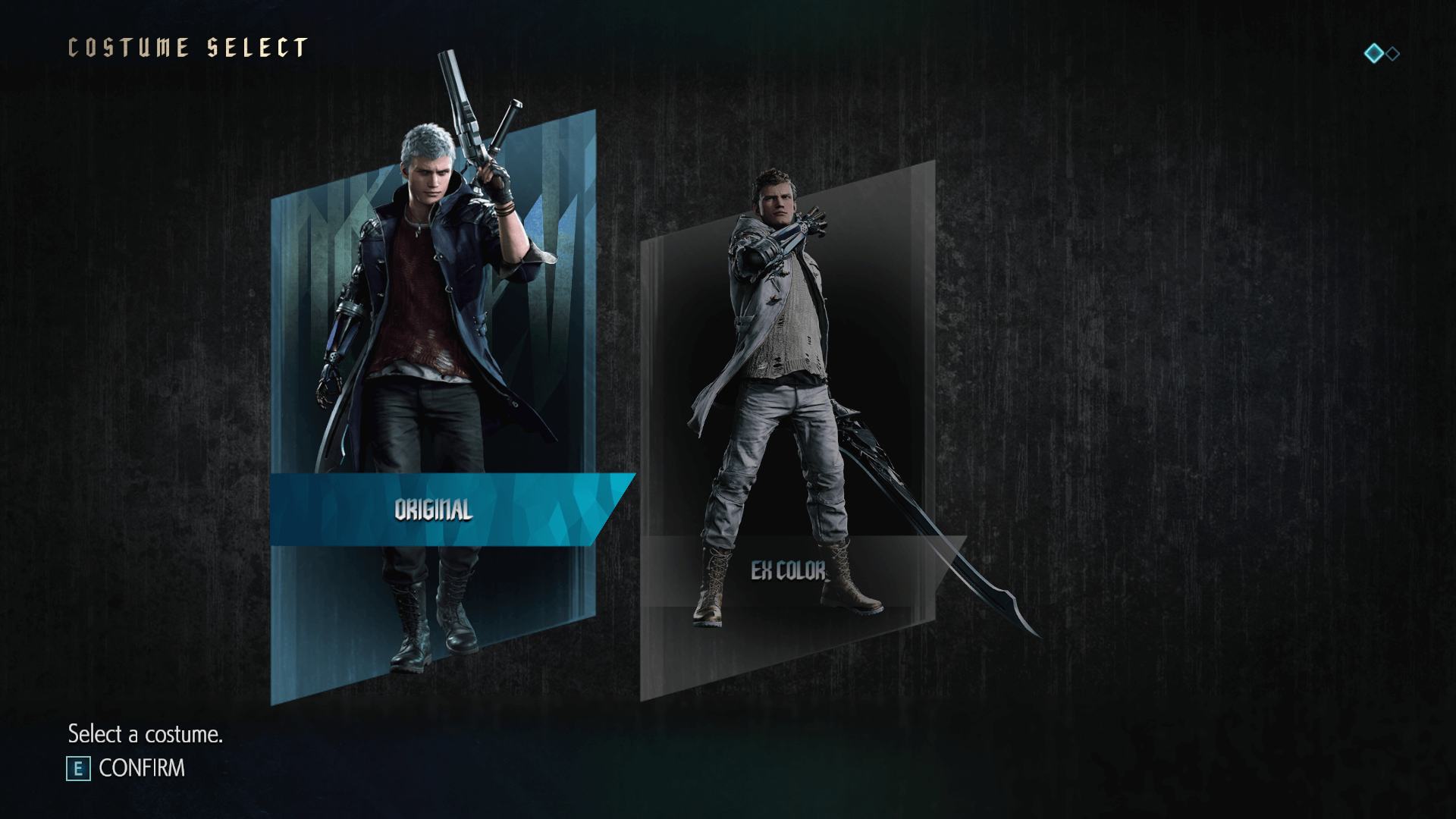 Costume select screenshot of Devil May Cry 5 video game interface.