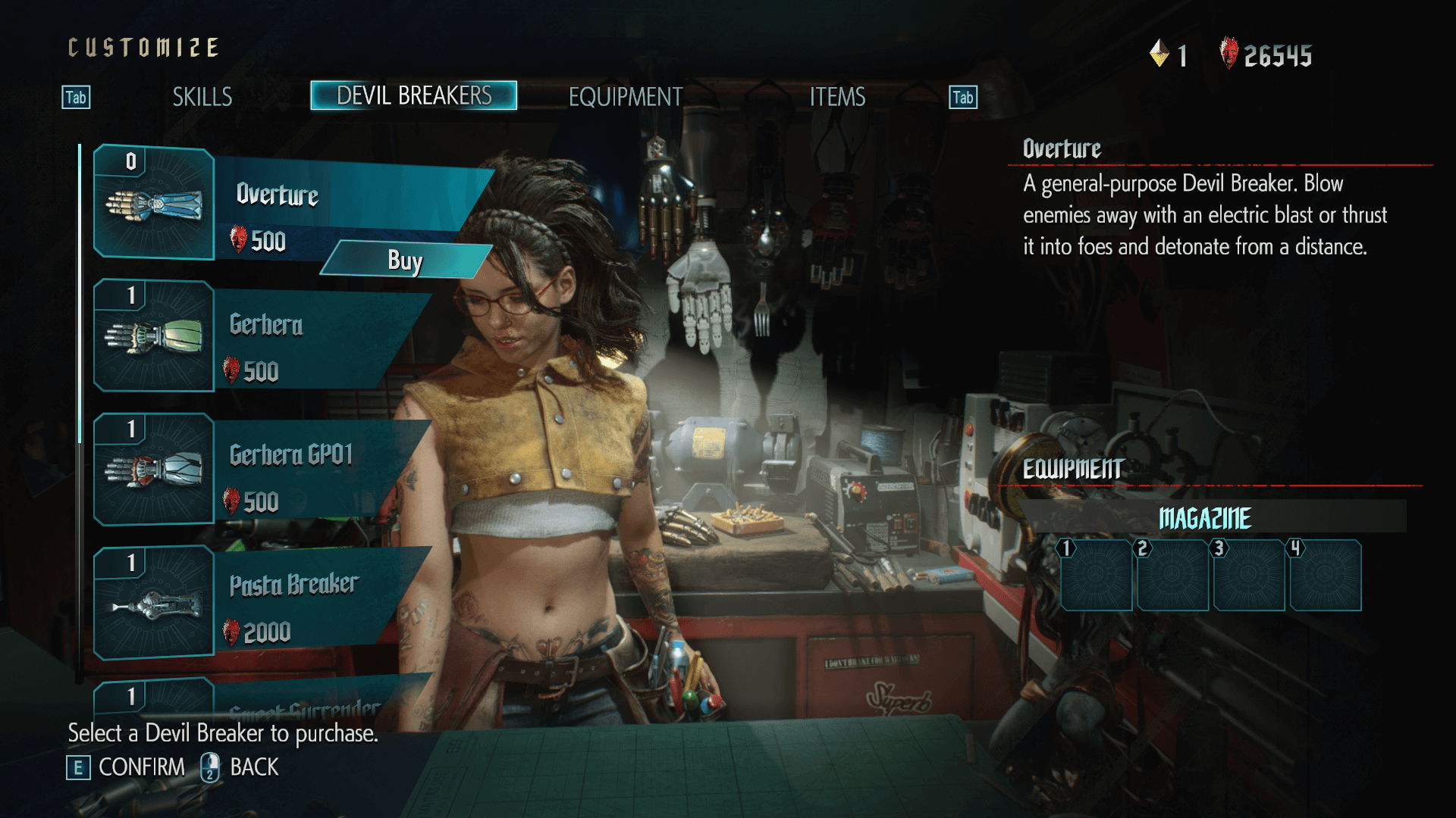 Devil breakers screenshot of Devil May Cry 5 video game interface.