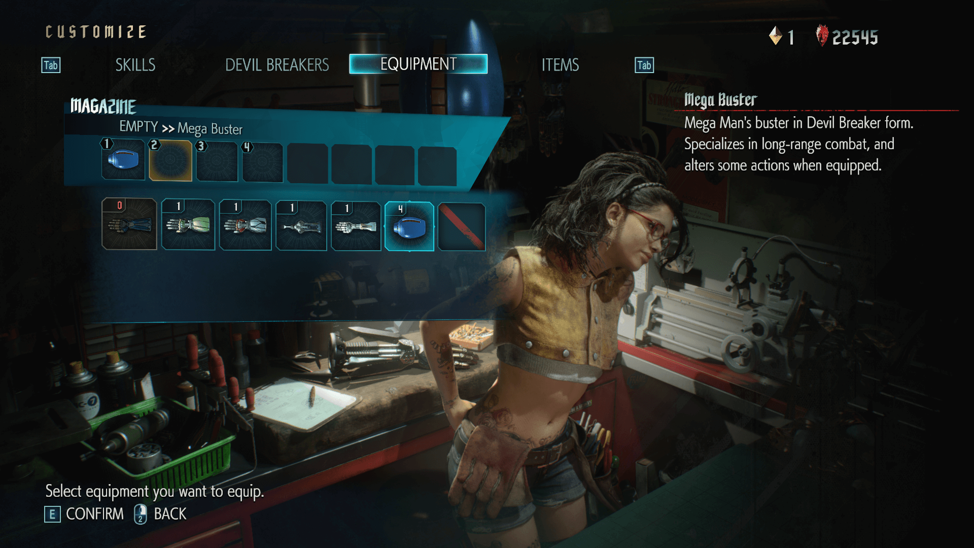 Equipment screenshot of Devil May Cry 5 video game interface.