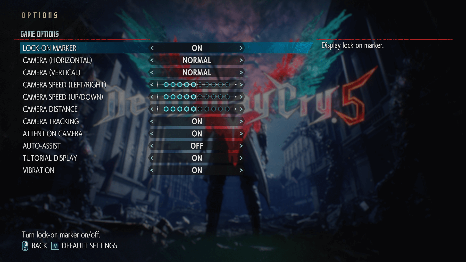 Game options screenshot of Devil May Cry 5 video game interface.