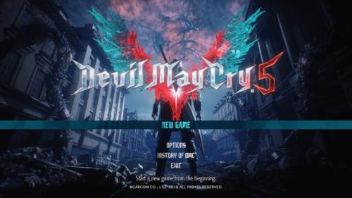 Main menu screenshot of Devil May Cry 5 video game interface.
