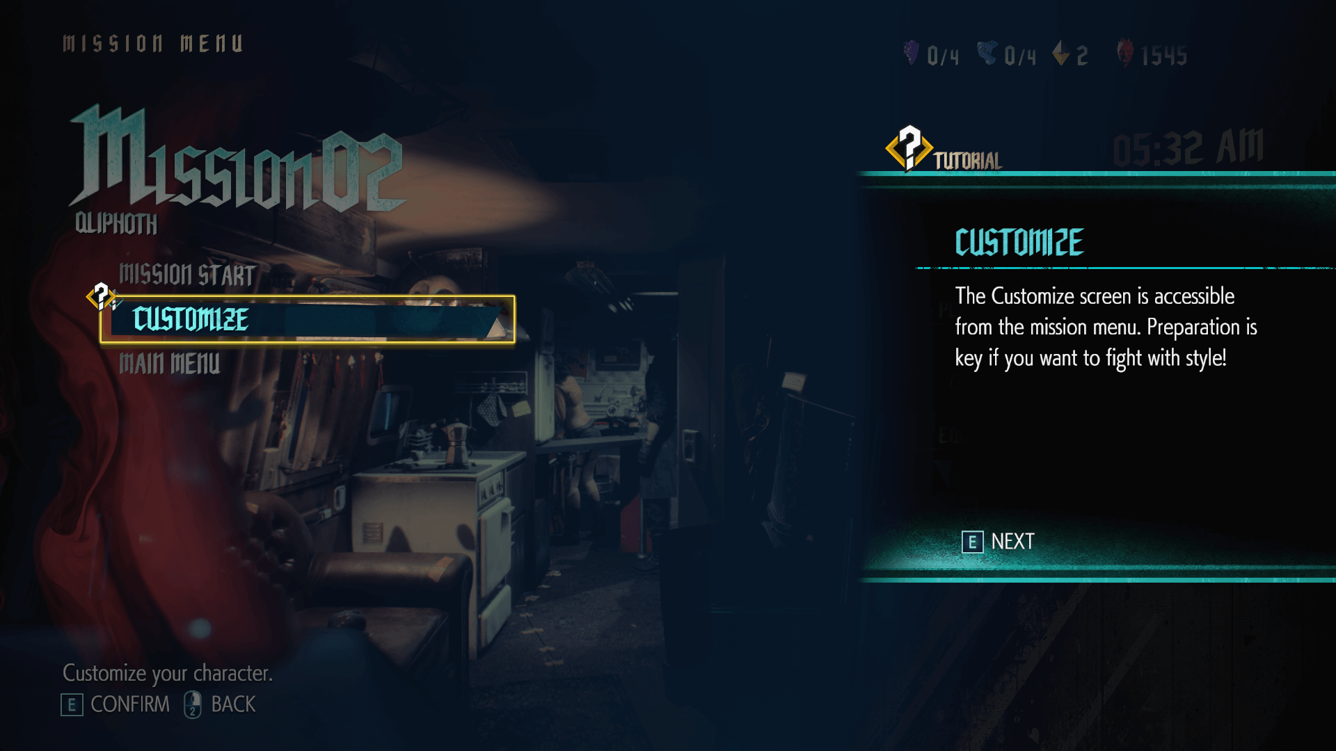Mission menu screenshot of Devil May Cry 5 video game interface.
