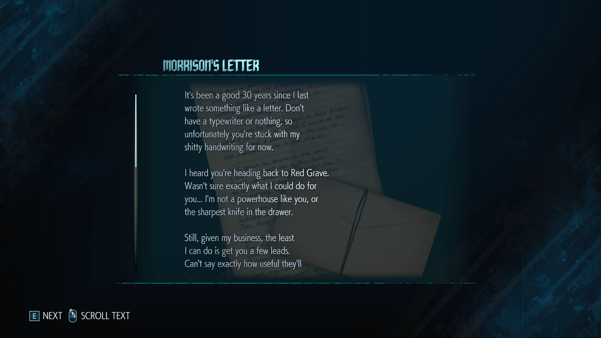 Morrison's letter screenshot of Devil May Cry 5 video game interface.