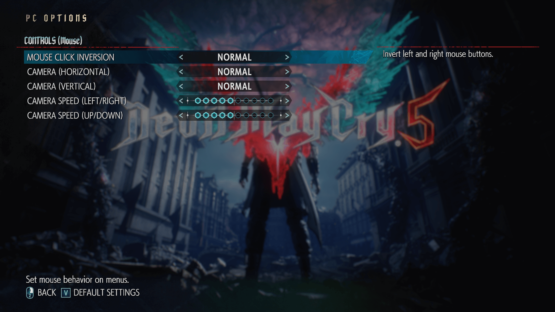 Mouse controls screenshot of Devil May Cry 5 video game interface.