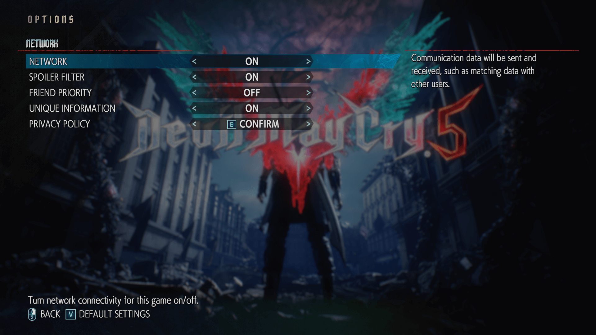 Network screenshot of Devil May Cry 5 video game interface.