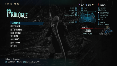 Pause menu screenshot of Devil May Cry 5 video game interface.