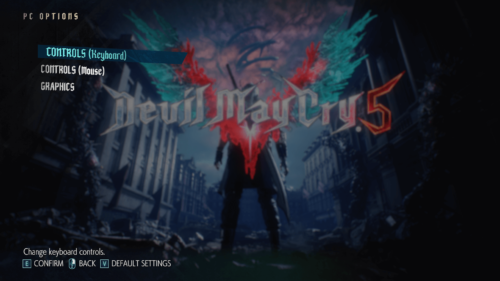 PC options screenshot of Devil May Cry 5 video game interface.