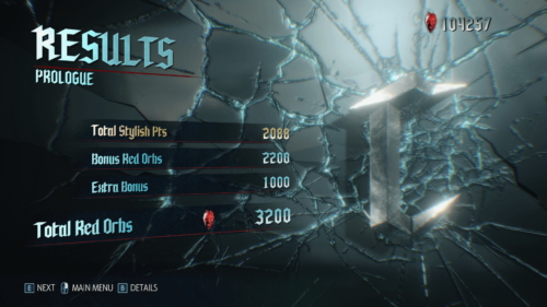 Results screenshot of Devil May Cry 5 video game interface.